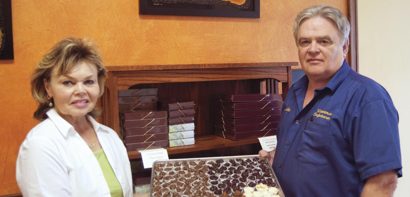 Chocolatiers Vickie and Mike Marotz hand-dip their sweet treats at the Watertown Confectionery, historic Kemp Avenue's newest business.