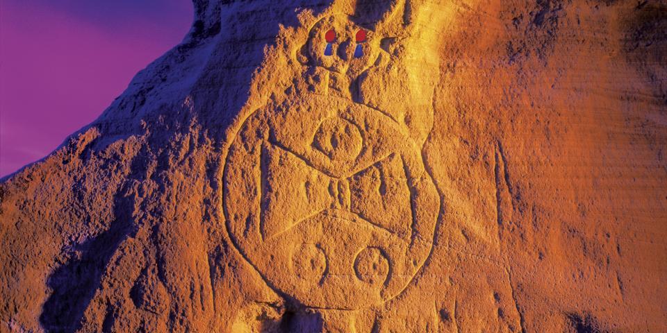 Warrior, petroglyph